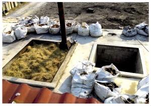 タイの山仙プール式炭化炉での着火前の状況