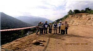 ラオスの水力発電ダム施工現場